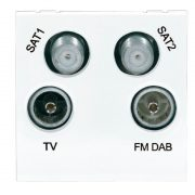 Modular faceplates - Screened Quadplexed Outlet Module 50 x 50mm White