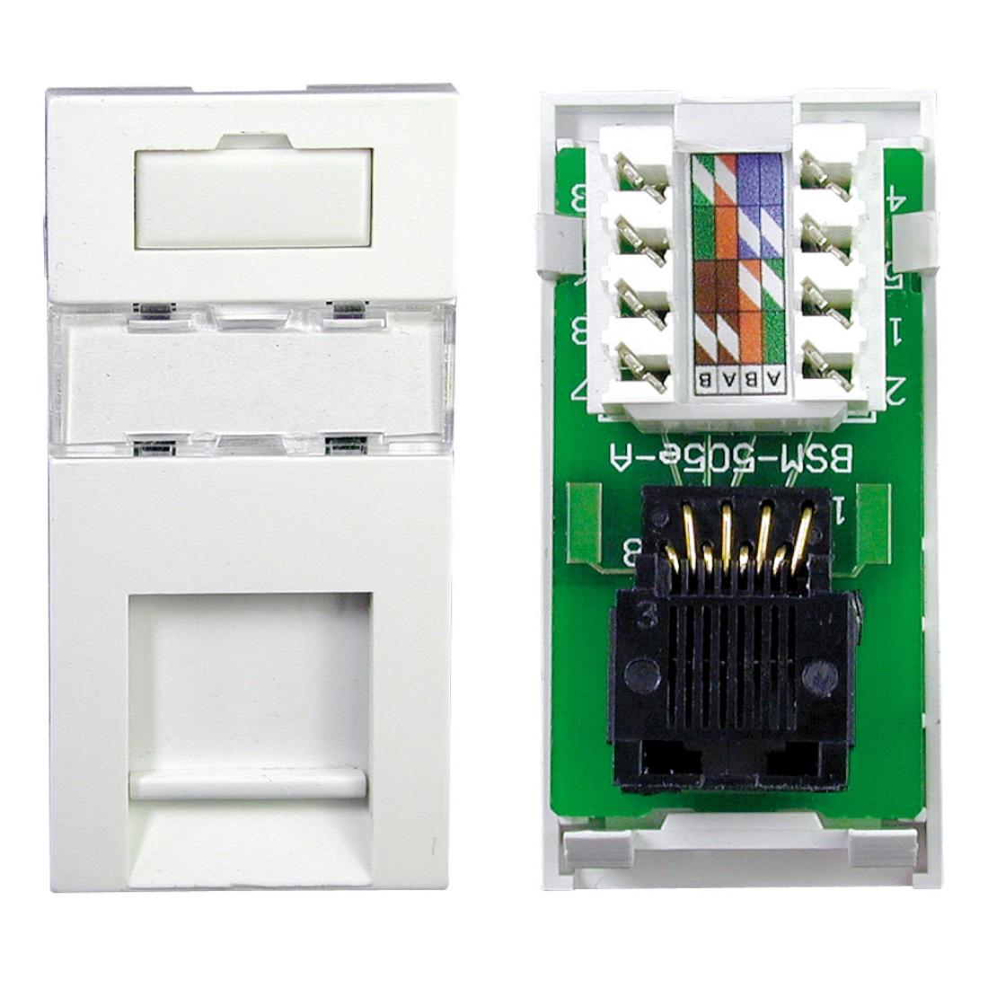 single cat5e idc rj45 outlet module 25 x 50mm white labgear. Black Bedroom Furniture Sets. Home Design Ideas