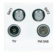 Modular faceplates - Screened Quadplexed Outlet Module 50 x 50mm White